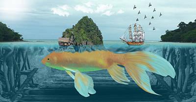 Goldfish Digital Art - Paradise Island by Solomon Barroa