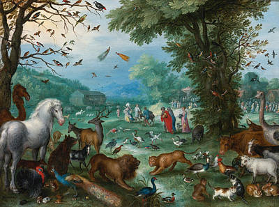 Noah Painting - Paradise Landscape With The Animals Entering Noah's Ark by Jan Brueghel the Elder