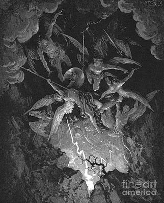 Fight Drawing - Paradise Lost  The Fall Of Man by Gustave Dore