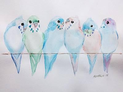 Parakeets Print by Edwin Alverio