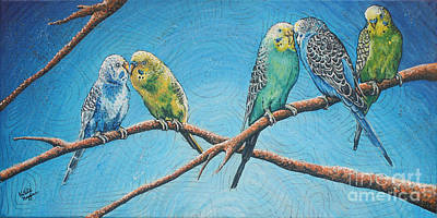 Parakeets Original by Natalie Huggins
