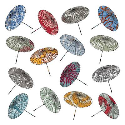 Umbrellas Digital Art - Parasols by Sarah Hough