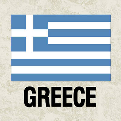 Greek Icon Painting - Parchment Flag Greece by Elaine Plesser