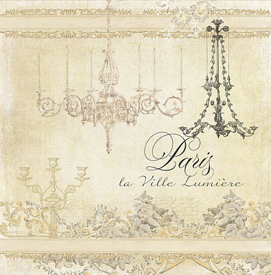 Parchment Paris - City Of Light Chandelier Candelabra Chalk Print by Audrey Jeanne Roberts