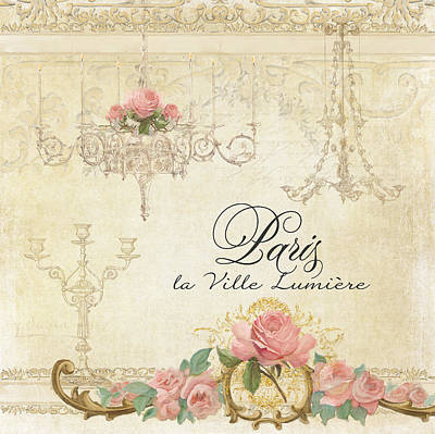 Parchment Paris - City Of Light Chandelier Candelabra Chalk Roses Print by Audrey Jeanne Roberts