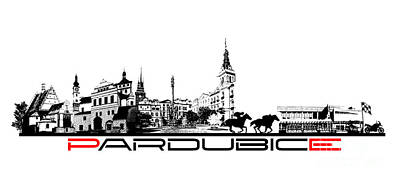 Pardubice Skyline City Black Print by Justyna JBJart