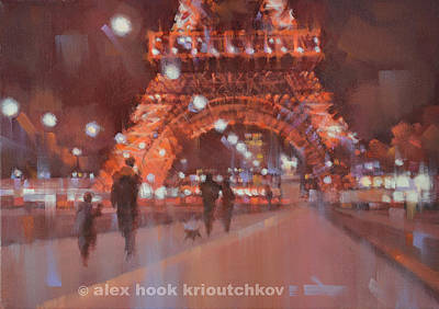 Paris At Night Iv Print by Alex Hook Krioutchkov