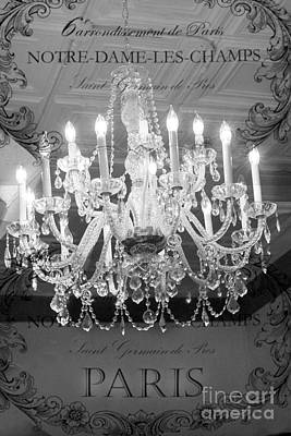 Paris Black And White Crystal Chandeliers - French Parisian Black White Crystal Chandelier Art Print by Kathy Fornal