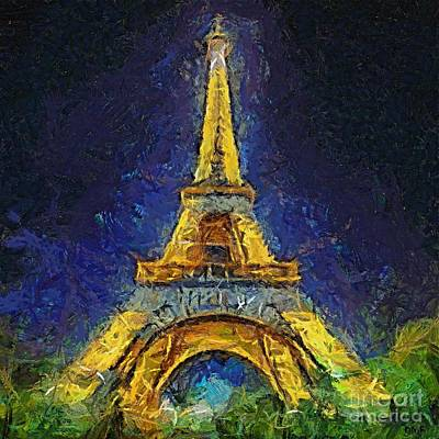 Landscape Painting - Paris By Night by Dragica  Micki Fortuna