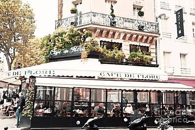Outdoor Cafes Photograph - Paris Cafe De Flore Famous Landmark - Paris Street Cafe Restaurant  by Kathy Fornal
