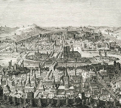 Capital Cities Drawing - Paris Circa 1610. 19th Century Copy Of by Vintage Design Pics