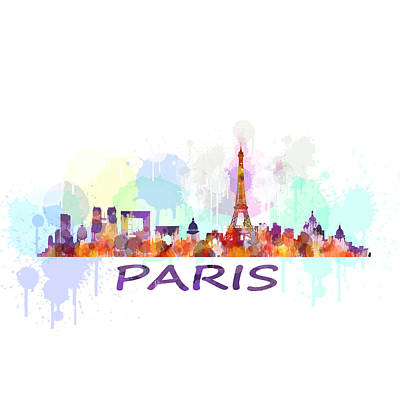 Cityscapes Drawing - Paris City Skyline Hq Watercolor by HQ Photo