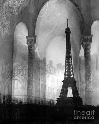 Surreal Art Photograph - Paris Eiffel Tower Architecture Black And White Fine Art Photography by Kathy Fornal