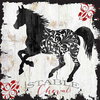 Paris Farm Sign Horse Print by Mindy Sommers