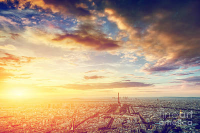 Light Photograph - Paris, France Skyline, Panorama At Sunset. Eiffel Tower, Champ De Mars by Michal Bednarek