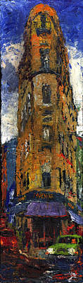 Streetscape Painting - Paris Hotel 7 Avenue by Yuriy  Shevchuk