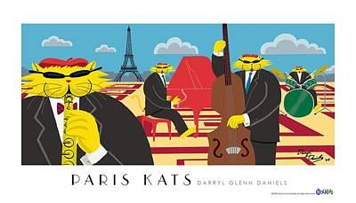 Paris Kats Print by Darryl Glenn Daniels