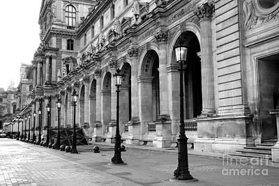 Black And White Paris Photograph - Paris Louvre Black And White Architecture - Louvre Lantern Lights by Kathy Fornal