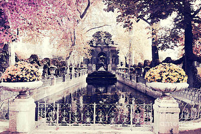 Paris Luxembourg Gardens Fall Autumn Watercolor Painting  Print by Kathy Fornal