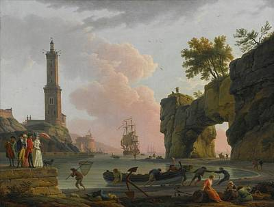 Sunset At The Bridge Painting - Paris Mediterranean Harbor At Sunset by Claude Joseph