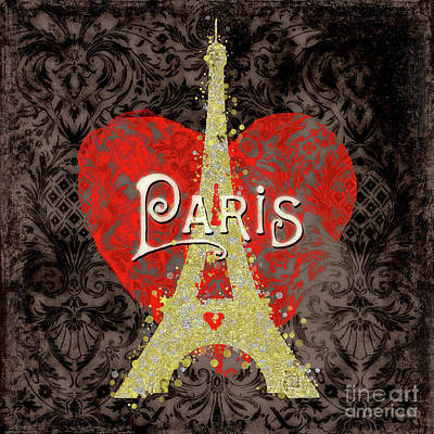 Paris Digital Art - Travel Paris Modern Travel Poster by Tina Lavoie