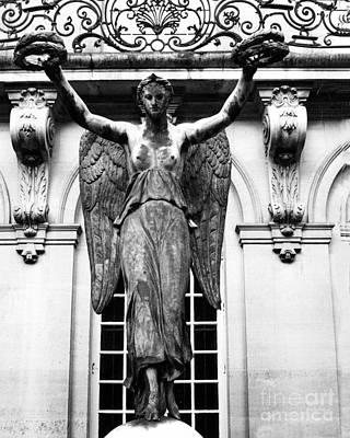 Paris Museum Carnavalet Victory Angel Statue - Paris Hotel Carnavalet Courtyard Angel Victory Statue Print by Kathy Fornal