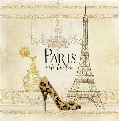 Paris - Ooh La La Fashion Eiffel Tower Chandelier Perfume Bottle Print by Audrey Jeanne Roberts