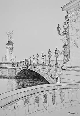 Cast Iron Drawing - Paris Pont Aleandre 3 On The Seine by Dai Wynn