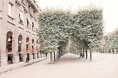 Paris Romantic Palais Royal Garden - Paris Garden Architecture Row Of Trees Watercolor Decor Print by Kathy Fornal