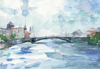 Paris Seine Shades Of Blue Print by Beverly Brown Prints