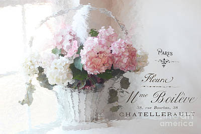 Paris Shabby Chic Romantic Pink White Hydrangeas In Basket - Paris Romantic Basket Of Flowers Print by Kathy Fornal