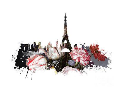 Skylines Digital Art - Paris Skyline Flowers by Justyna JBJart