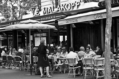 Wine Service Photograph - Paris Street Cafe - Le Malakoff by Georgia Fowler
