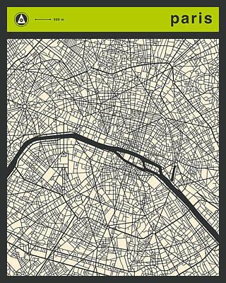Paris Street Map Print by Jazzberry Blue