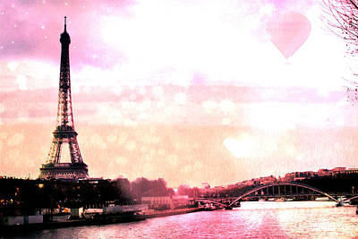 Paris Surreal Eiffel Tower Pink Yellow Abstract Print by Kathy Fornal
