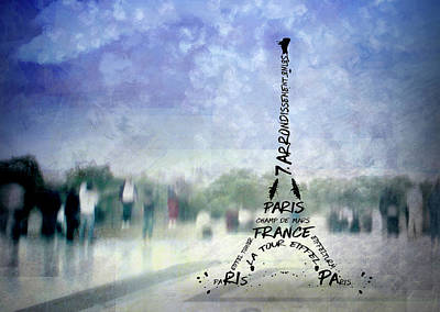 Paris Trocadero And Eiffel Tower Typografie Print by Melanie Viola