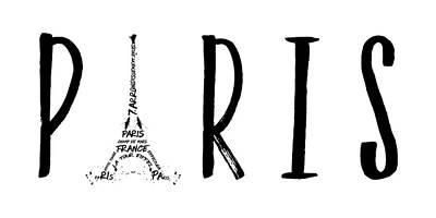 Paris Digital Art - Paris Typography Panoramic by Melanie Viola