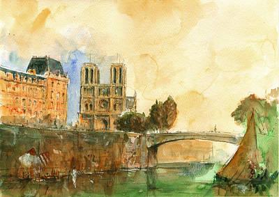 Notre Dame Painting - Paris Watercolor by Juan  Bosco