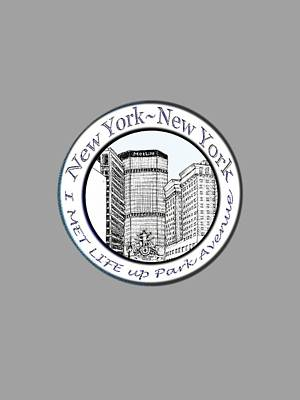 New York City Skyline Drawing - I Met Life Up Park Avenue Nyc by James Lewis Hamilton