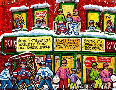 Hockey Painting - Park Extension Corner Store Montreal Memories Street Hockey Art Canadian Winter Scene Carole Spandau by Carole Spandau