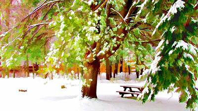 Park In Winter Print by Lanjee Chee