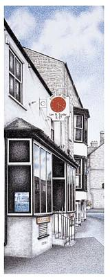 Village Scene Drawing - Park Road Clock by Sandra Moore