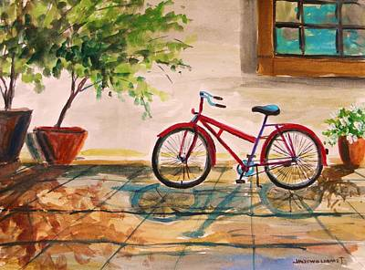 Sunlight On Pots Painting - Parked In The Courtyard by John Williams