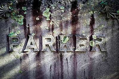 Marble Tomb-stones Photograph - Parker Tombstone - Sleepy Hollow Cemetery by Colleen Kammerer