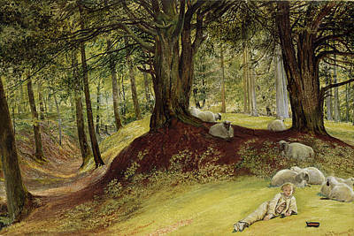 Woodlands Scene Painting - Parkhurst Woods by Richard Redgrave