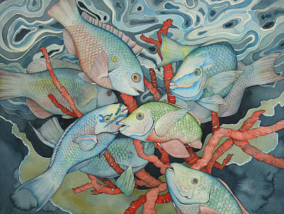 Parrotfish Painting - Parromania by Liduine Bekman