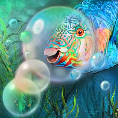 Parrot Fish - Through A Bubble Print by Carol Cavalaris