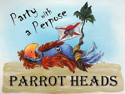 Parrot Heads Original by Janette Legg