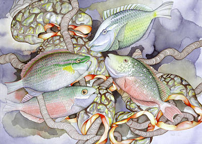 Parrotfish Painting - Parrot Play by Liduine Bekman