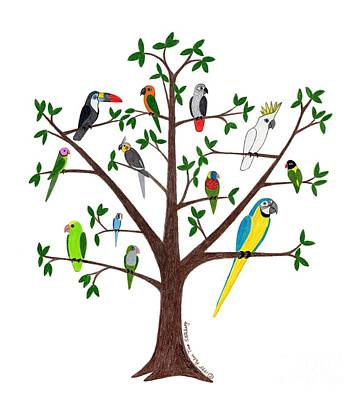 Lovebird Drawing - Parrot Tree by Rita Palmer